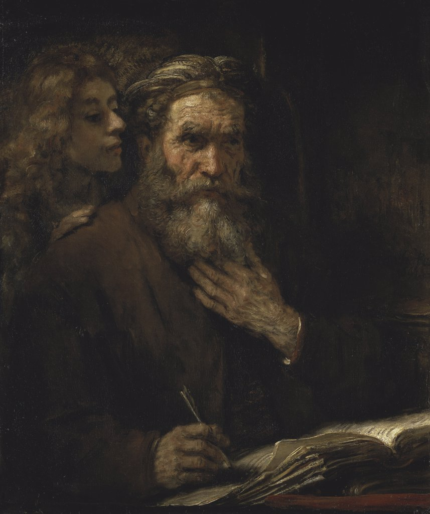 SAINT MATTHEW AND THE ANGEL 1661 Rembrandt Harmensz van Rijn 1606 d1669 Dutch Musee du Louvre, Paris  : Stock Photo
