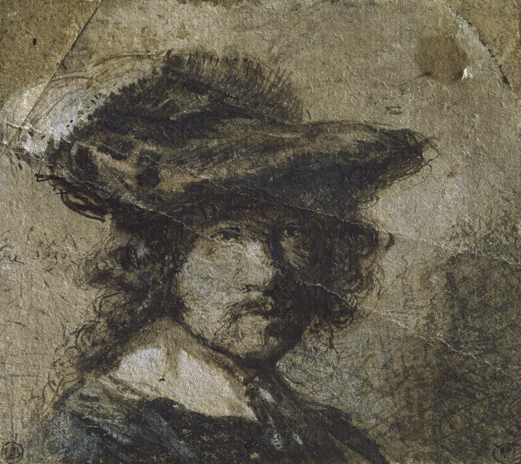 Self Portrait with Cap of Feathers and a White Collar - (Study) 