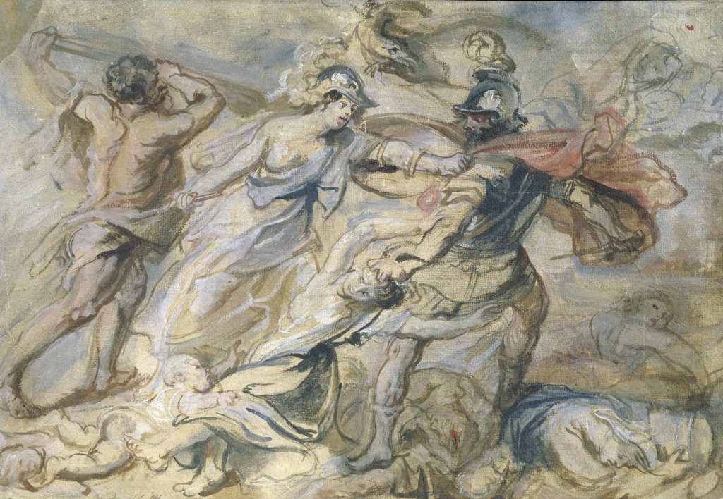 Stock Photo: 1158-2119 Battle of Mars and Minerva, study by Peter Paul Rubens, 17th Century, (1577-1640), France, Paris, Musee du Louvre
