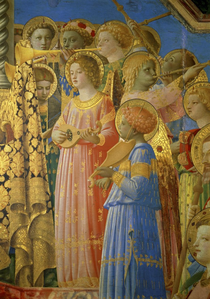 The Coronation of the Virgin - Detail  Fra Angelico (ca. 1400-1455/Italian)  Oil on Wood  Musee du Louvre, Paris  : Stock Photo