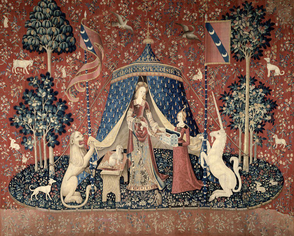 Stock Photo: 1158-2133 Lady and the Unicorn (La Dame Devant un Pavillon) 15th Century Tapestry (Flemish) Musee National du Moyen Age, Thermes & Hotel de Cluny, Paris, France