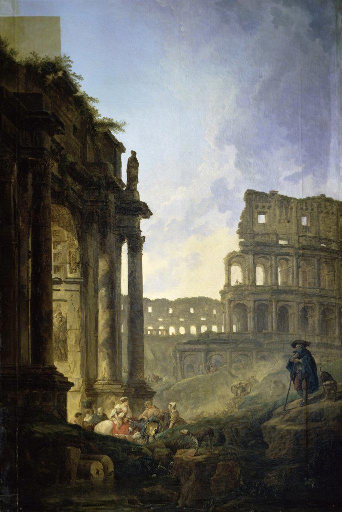 Landscape of Italy  c. 1800  Hubert Robert (1733-1806/French)  Musee Calvert, Avignon  : Stock Photo