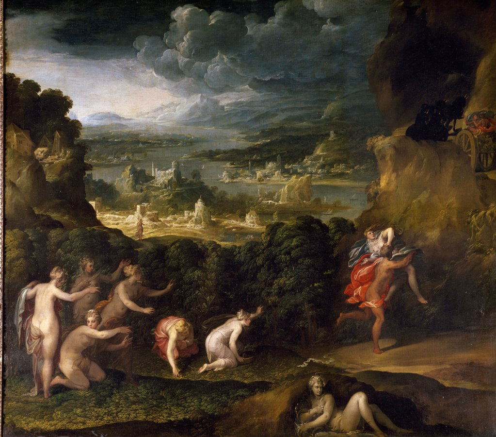The Rape of Proserpine by Niccolo dell'Abate, oil on canvas, Circa 1560, (1509-1571), France, Paris, Musee du Louvre : Stock Photo