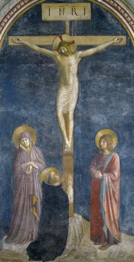 Stock Photo: 1158-2180 The Crucifixion with Saint Dominic by Fra Angelico,  fresco,  15th Century,  (Circa 1400-1455),  France,  Paris,  Musee du Louvre