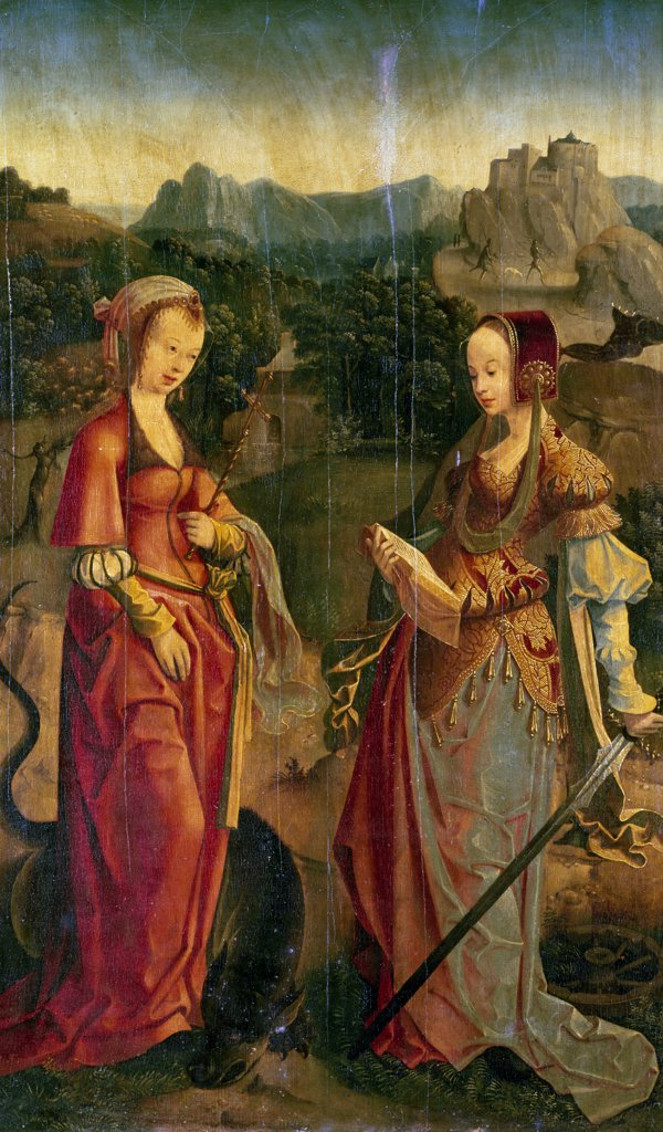 Stock Photo: 1158-2182 Saint Catherine and Saint Marguerite,  Flemish School,  16th Century,  France,  Paris,  Musee du Louvre