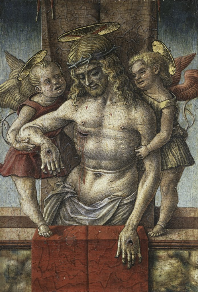 Stock Photo: 1158-2192 LAMENTATION OVER THE DEAD CHRIST WITH TWO ANGELS C. 15TH Crivelli, Carlo ca.1430 d1495 Italian Musee du Louvre, Paris