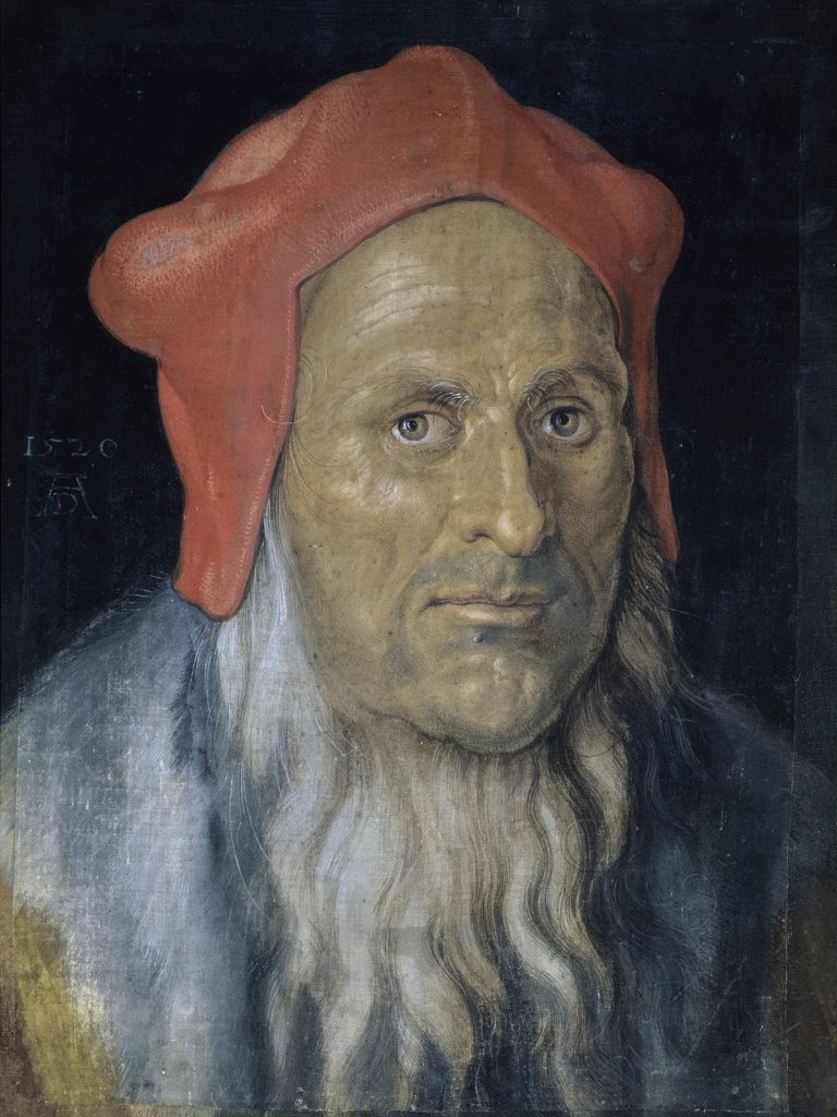 Stock Photo: 1158-2193 Portrait of a Bearded Man with a Red Hat 