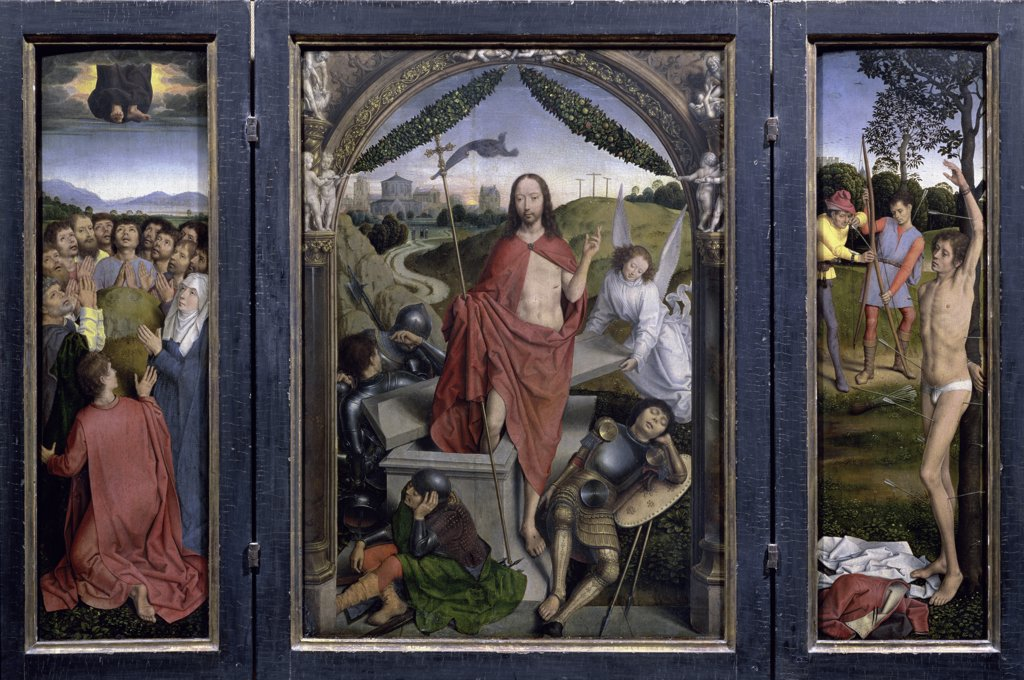 The Resurrection With the Martyrdom of St. Sebastian and the Ascension - (Center Panel) - Triptych 