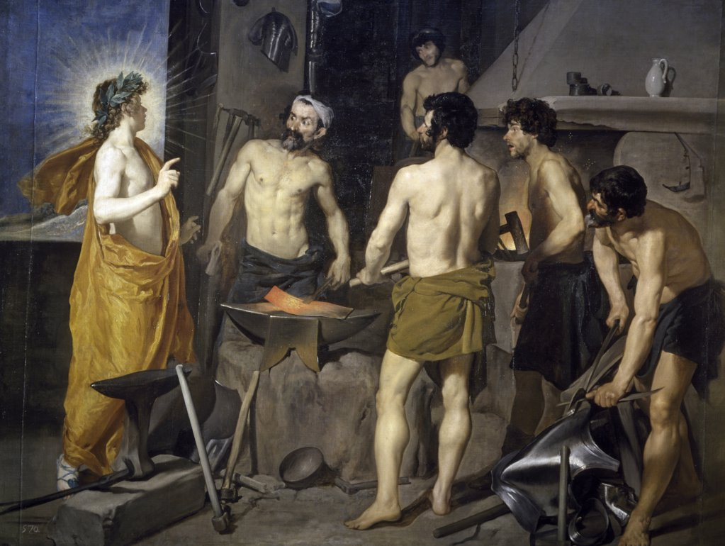 The Forge of Vulcan by Diego Velazquez, oil on canvas, 1630, (1599-1660), Spain, Madrid, Museo del Prado : Stock Photo
