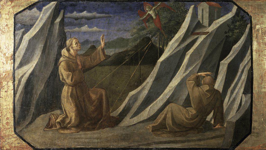 St. Francis Receiving the Stigmata  15th C.  Francesco Pesellino (1422-1457/Italian)  Musee du Louvre, Paris  : Stock Photo