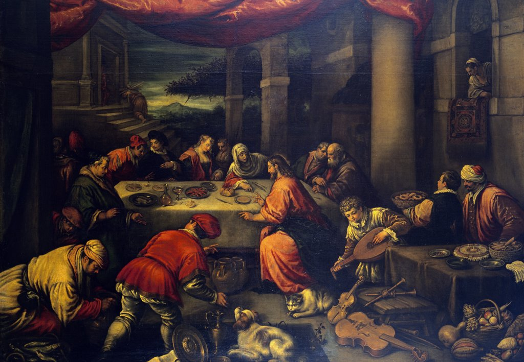 Stock Photo: 1158-2238 The Wedding at Cana by Leandro Bassano,  Early 17th Century,  (1557-1622)
