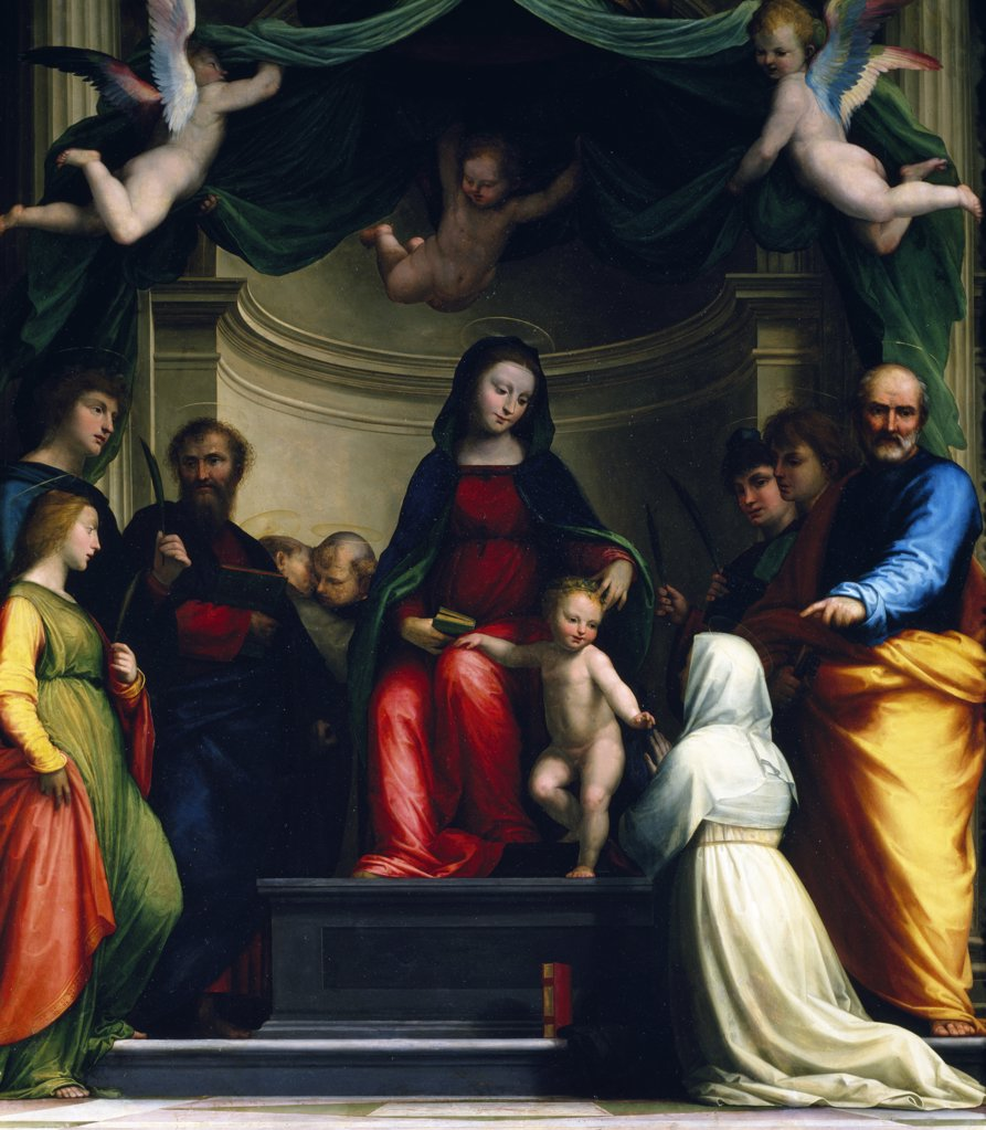 Stock Photo: 1158-2240 Mystic Marriage of Saint Catherine of Siena,  with Eight Saints by Fra Bartolommeo,  1511,  (1472-1517),  France,  Paris,  Musee du Louvre
