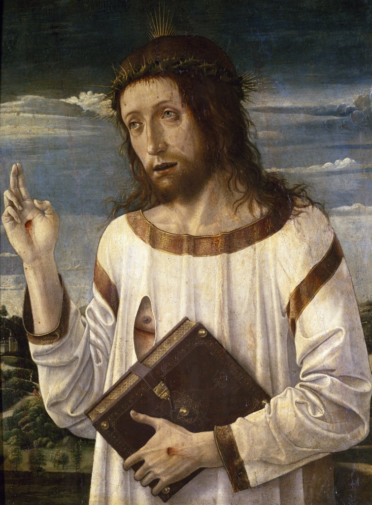 Christ Blessing by Giovanni Bellini,  Circa 1460,  (Circa 1430-1516),  France,  Paris,  Musee du Louvre : Stock Photo