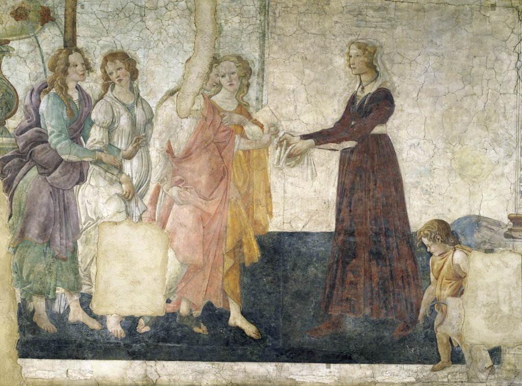 Stock Photo: 1158-2247 Young Woman Receives Gifts from Venus and the Three Graces by Sandro Botticelli, fresco, 15th Century, (1444-1510), France, Paris, Musee du Louvre