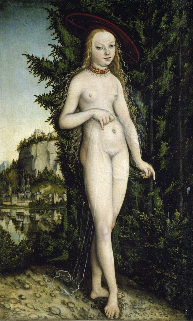 Venus in a Landscape by Lucas Cranach the Elder, 16th Century, (1472-1553), France, Paris, Musee du Louvre : Stock Photo
