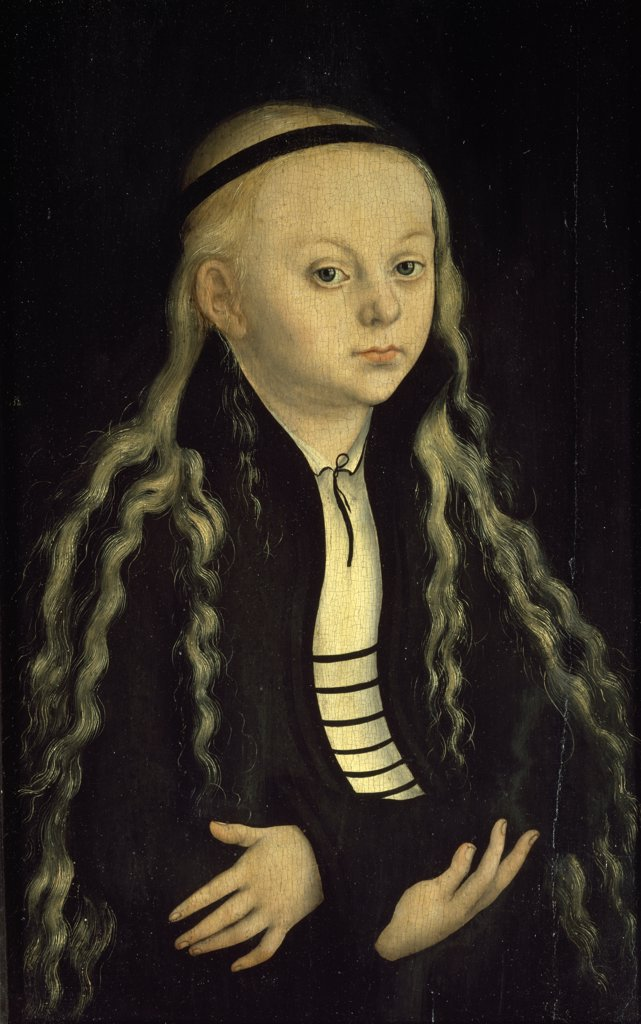 Portrait of a Young Girl by Lucas Cranach the Elder, oil on wood, 16th Century, (1472-1553), France, Paris, Musee du Louvre : Stock Photo
