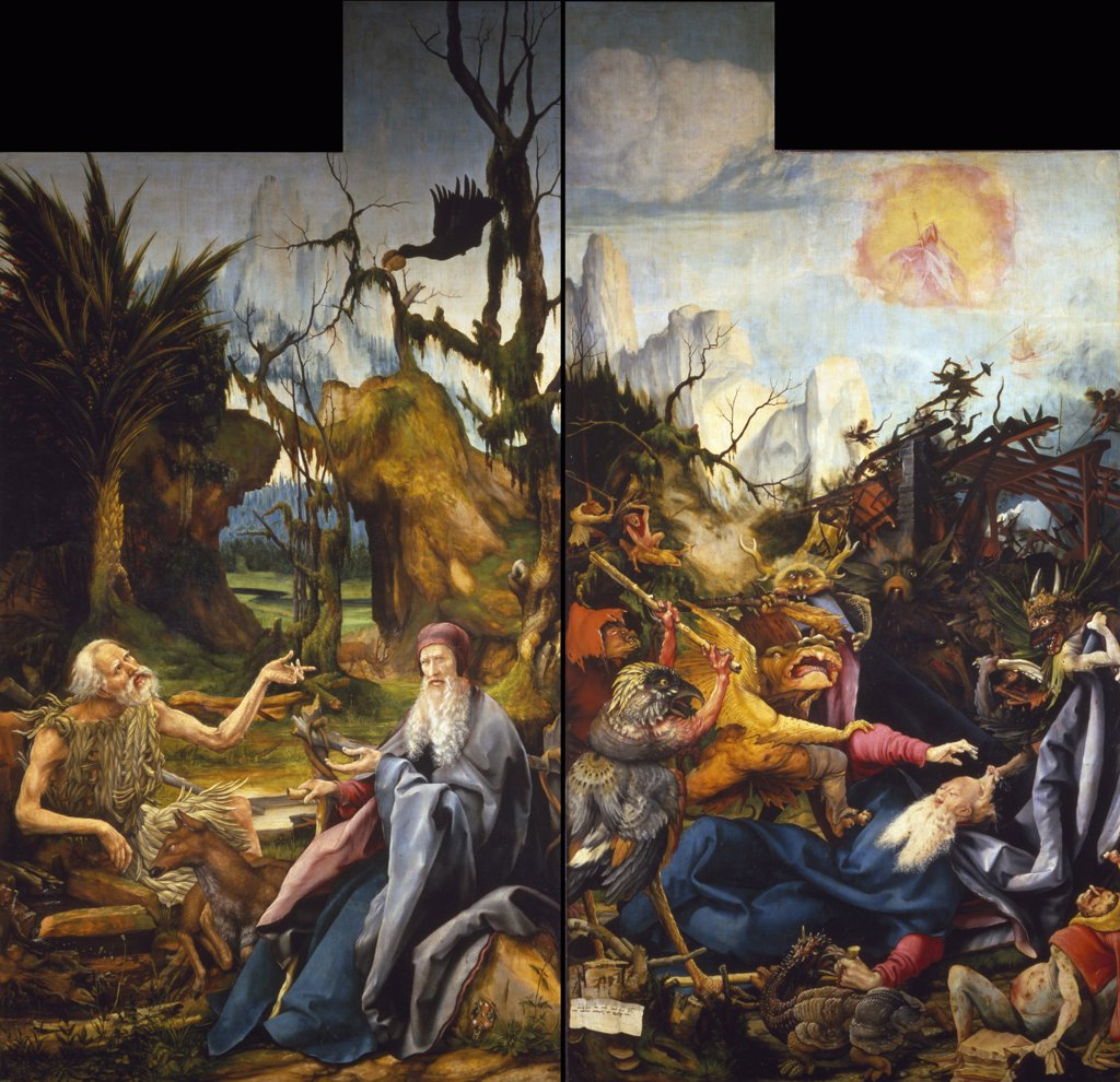 Stock Photo: 1158-2262 Isenheim Altarpiece with The Temptation of Saint Anthony by Matthias Grunewald,  Circa 1510,  (Circa 1480-1528),  France,  Colmar,  Musee Unterlinden