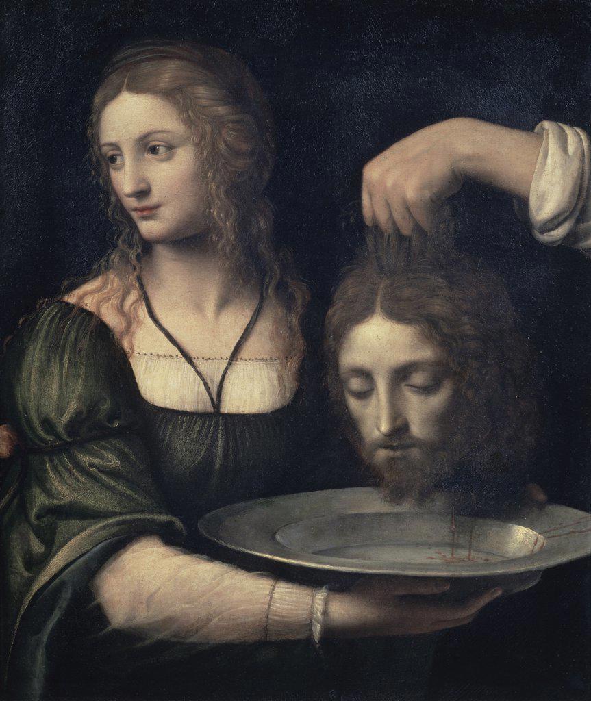 Stock Photo: 1158-2269 Salome Receiving the Head of John the Baptist  16th C.  Bernardino Luini (ca. 1480-1532/Italian) Musee Louvre,Paris