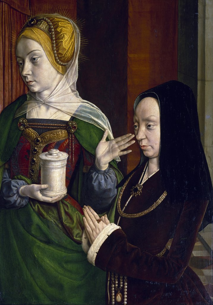 Portrait of Madeleine of Burgundy with Saint Mary Magdalene by Jean Hey,  oil on wood,  Circa 1490-1495,  (1480-1500),  France,  Paris,  Musee du Louvre : Stock Photo