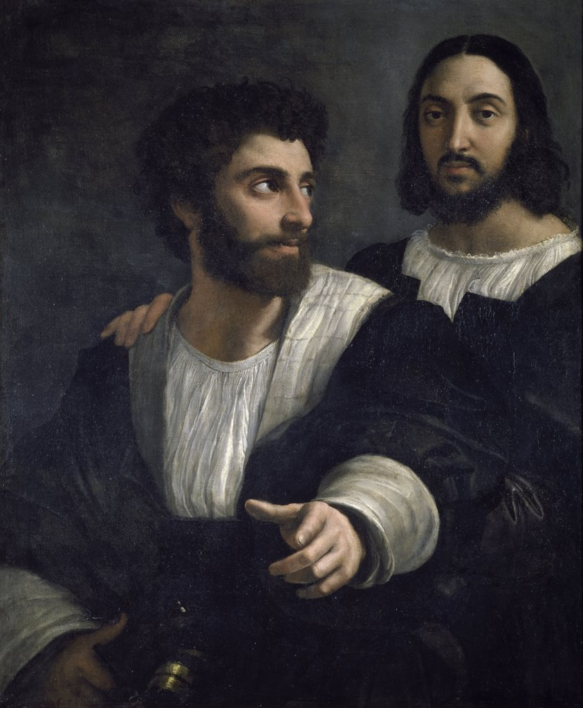 Portrait of artist with Friend by Raphael, Circa 1515-1518, (1483-1520), France, Paris, Musee du Louvre : Stock Photo