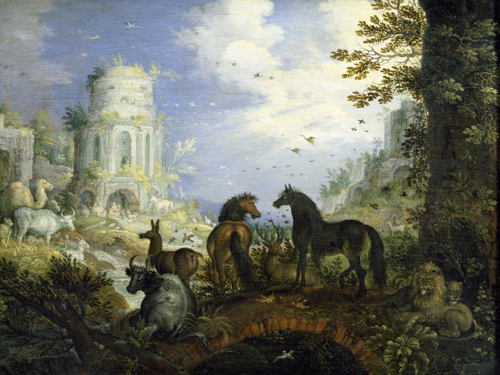 Orpheus Charms the Animals with his Music by Roelandt Savery, 16th Century, (1576-1639), France, Paris, Musee du Louvre : Stock Photo