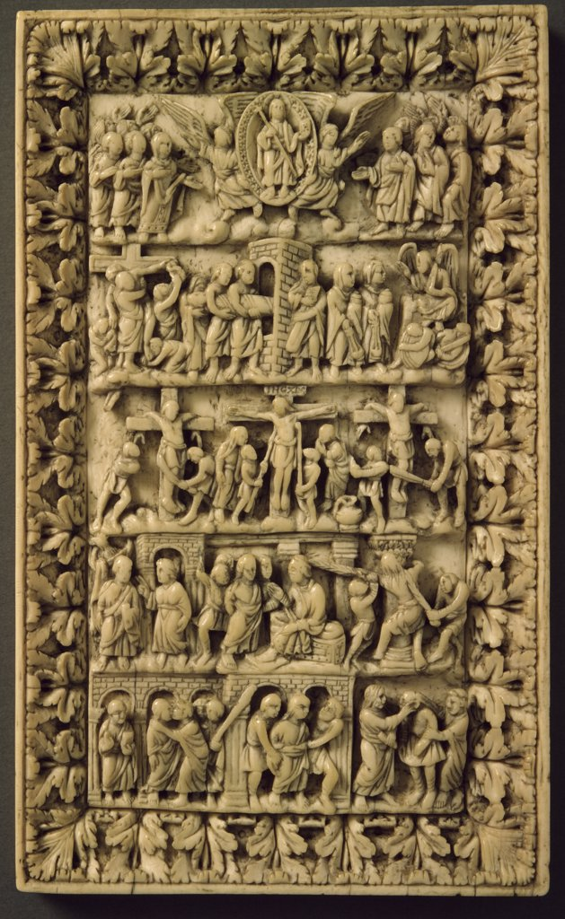 Scenes from Passion of Christ, carved ivory relief : Stock Photo