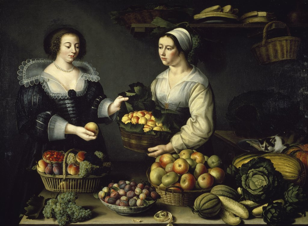 Stock Photo: 1158-2324 Two women with fruit baskets by unknown artist