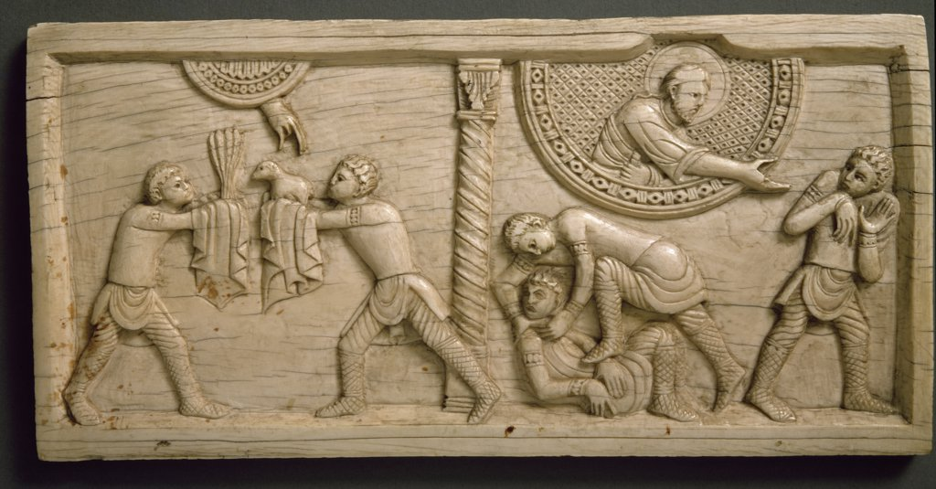 Ivory of Salerno, relief : Stock Photo