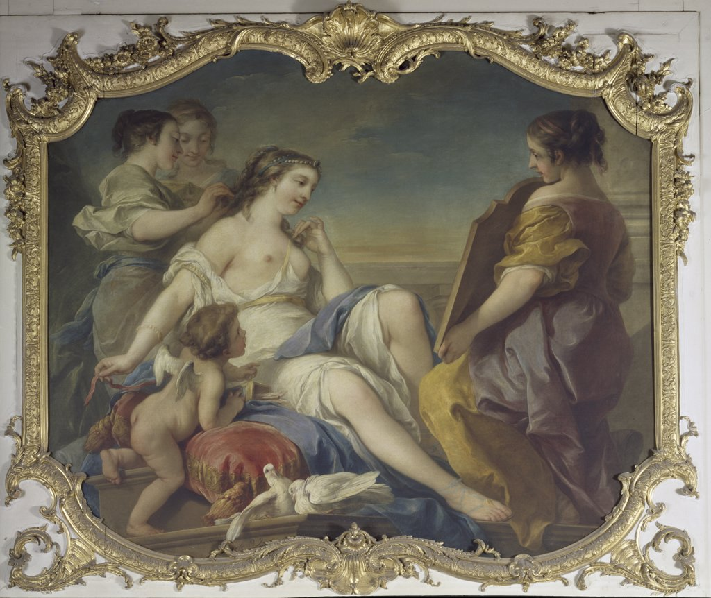 France, Ile-de-France, Hotel de Soubise, Chamber of the Princess, Venus in Her Bath by Carle van Loo, 1705-1765 : Stock Photo