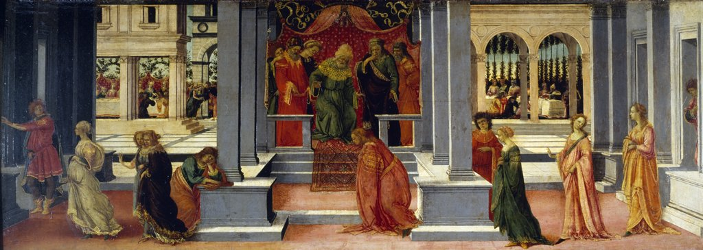 Stock Photo: 1158-2357 Esther Before Ahasuerus by Fra Filippo Lippi,  (c. 1406-1469/Italian),  France,  Chantilly,  Musee Conde