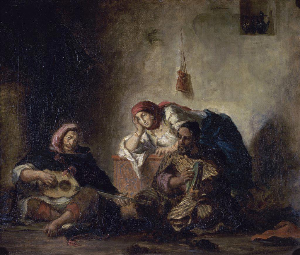 Jewish Musicians of Mogador  (Musiciens Juifs de Mogador)  c. 1840  Eugene Delacroix (1798-1863/French)  Musee du Louvre, Paris  : Stock Photo