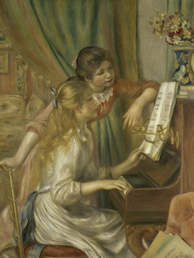 Stock Photo: 1158-2389 Girls at the Piano
