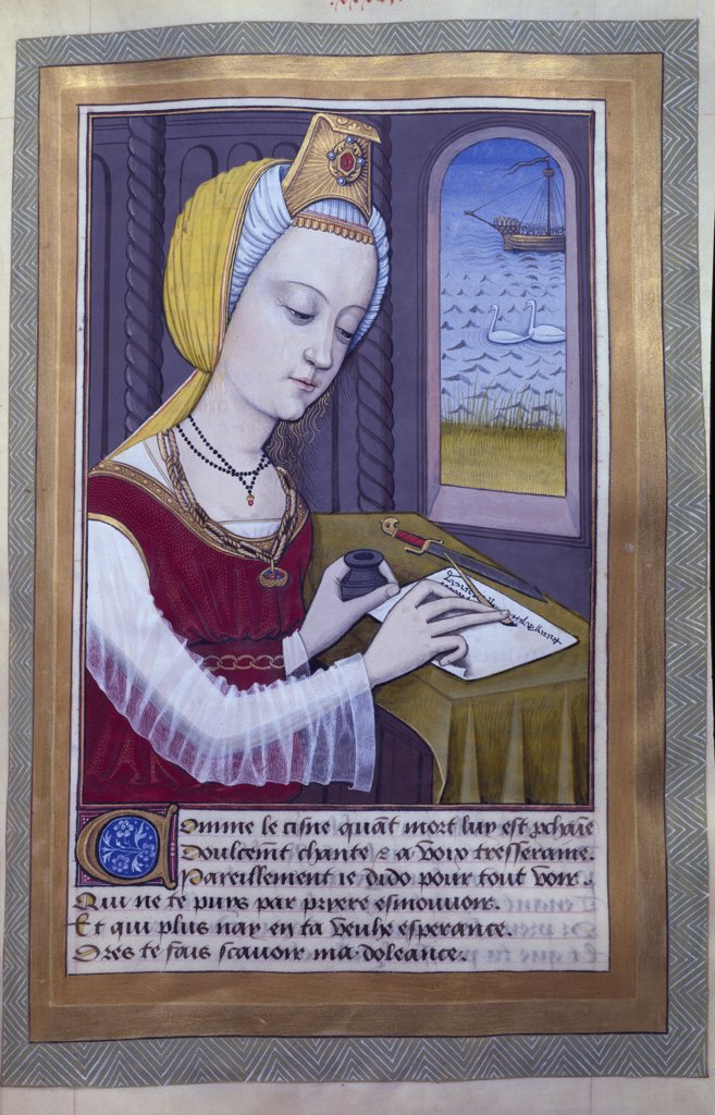 Stock Photo: 1158-2445 Portrait of a Woman manuscript by Robert Testard, manuscript, France, Paris, Bibliotheque Nationale