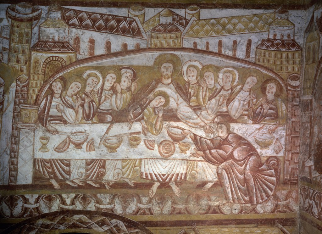 The Last Supper by artist unknown,  fresco,  12th century : Stock Photo