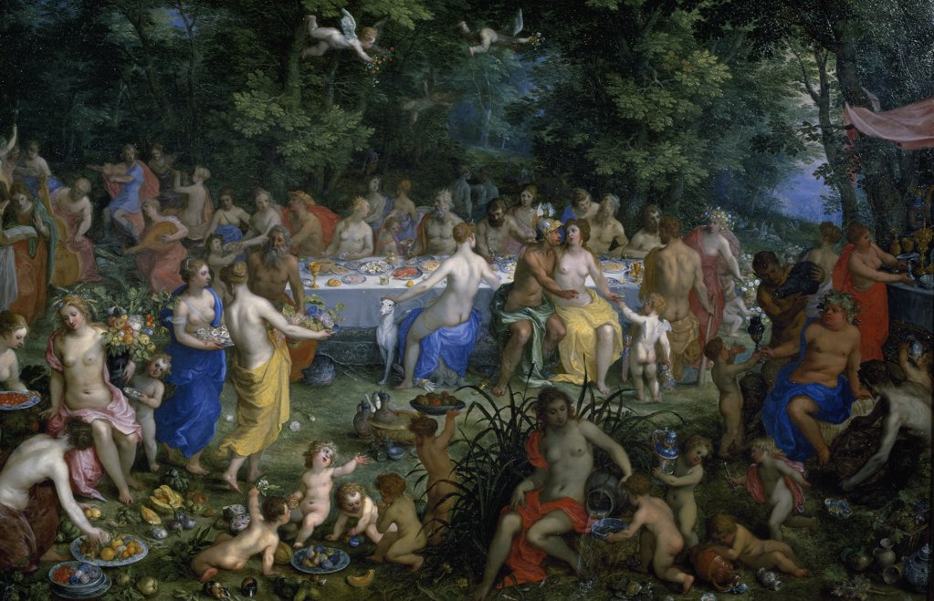 Stock Photo: 1158-2465 The Feast of the Gods by Hendrik I van Balen, (1575-1632), 16th century, France, Paris, Musee du Louvre