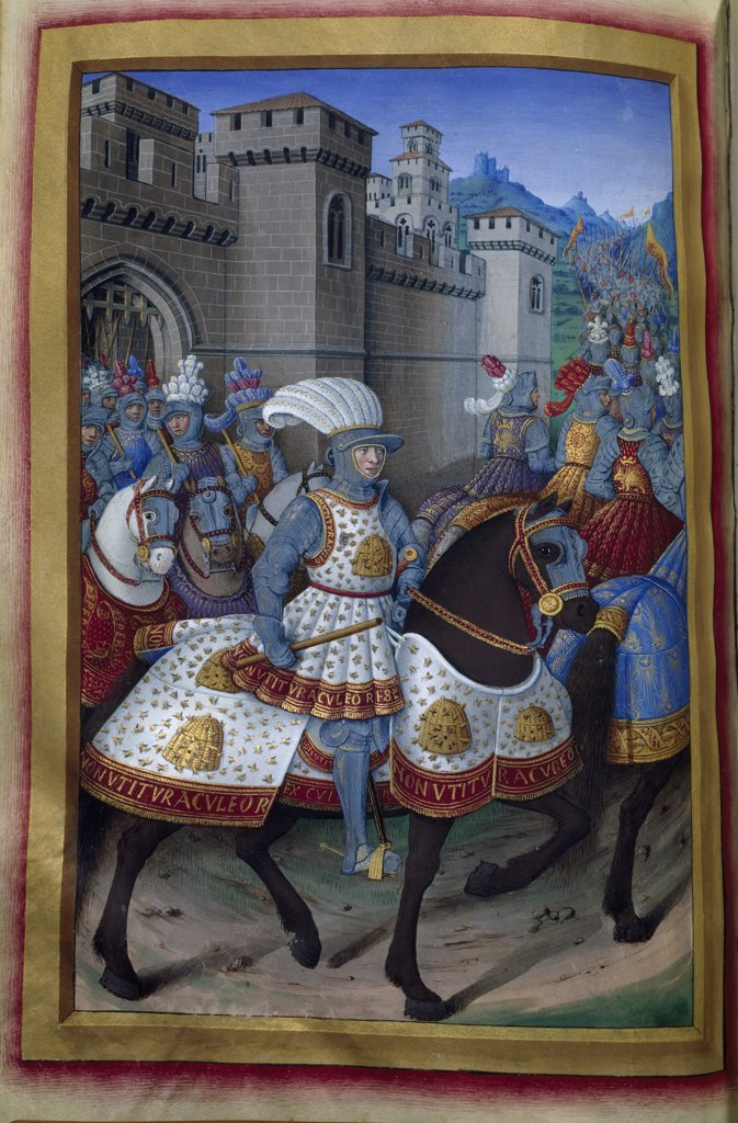 The Army Leaves the Castle, manuscript, France, Paris, Bibliotheque Nationale : Stock Photo