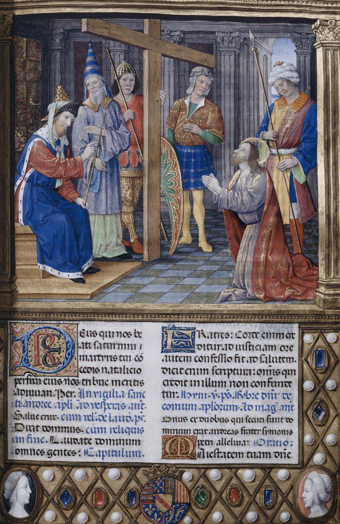 Christ Preparing for the Crucifixion  Illuminated Manuscript Bibliotheque Nationale, Paris  : Stock Photo