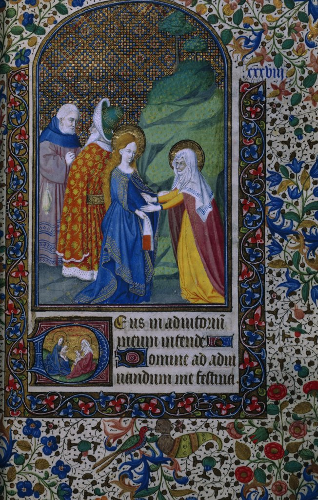 Visit of Elizabeth to Mary, manuscript, France, Paris, Bibliotheque Nationale : Stock Photo
