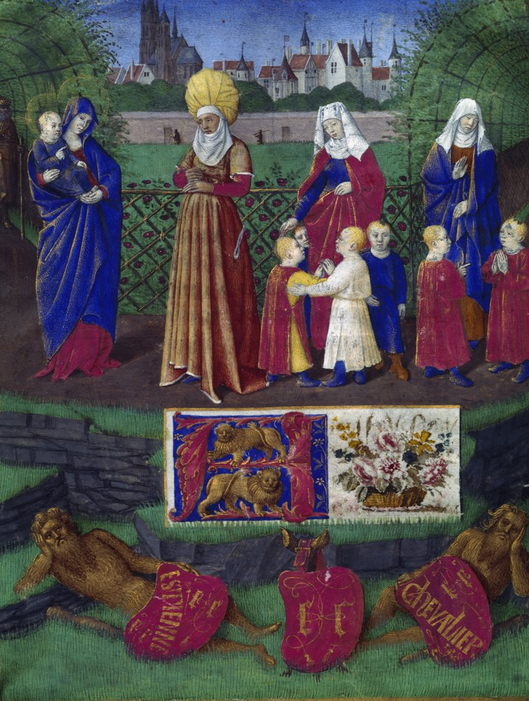 Virgin and Child With Family, manuscript, France, Paris, Bibliotheque Nationale : Stock Photo