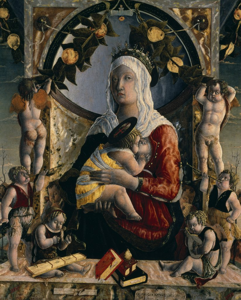 Stock Photo: 1158-2480 Virgin and Child Surrounded by Eight Angels by Marco Zoppo,  oil on canvas,  (c.1432- c.1478),  Paris,  Musee du Louvre