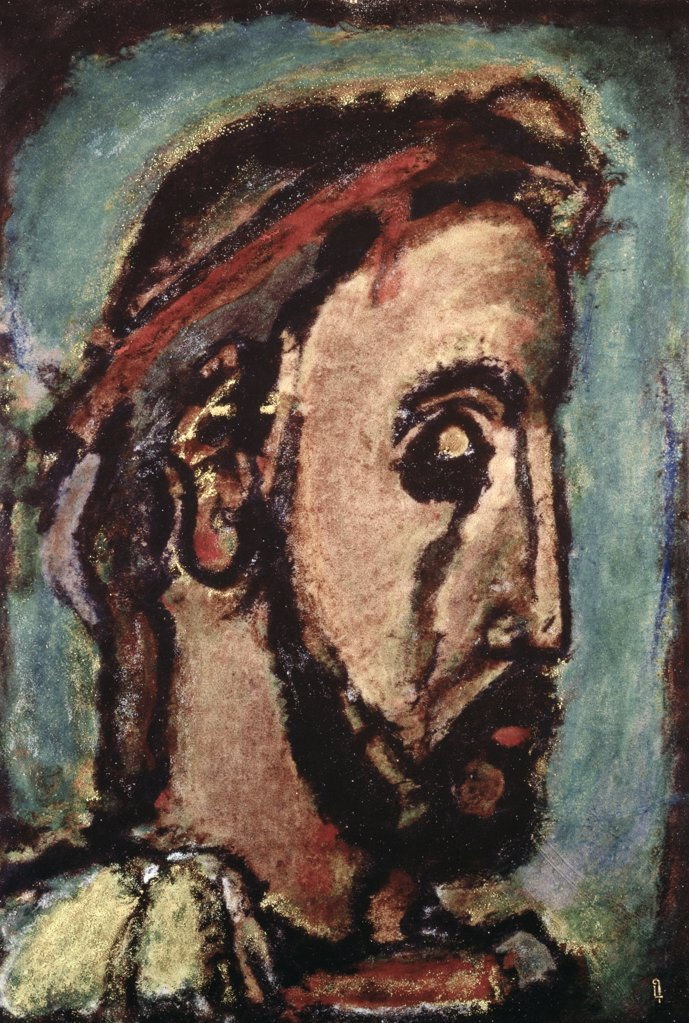 Stock Photo: 1158-2503 Profile Of Christ C. by Georges Rouault, 1949, 1871-1958