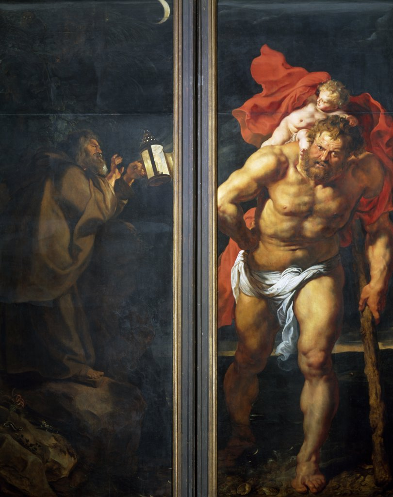 Descent from the Cross Triptych: Saint Christopher and an Unknown Saint by Peter Paul Rubens,  (1577-1640) : Stock Photo