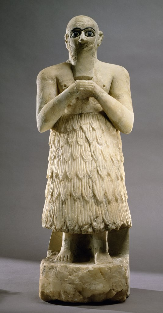 Stock Photo: 1158-2521 Statue of Praying Figure, Near Eastern Art, Syria, Damascus, National Museum of Damascus