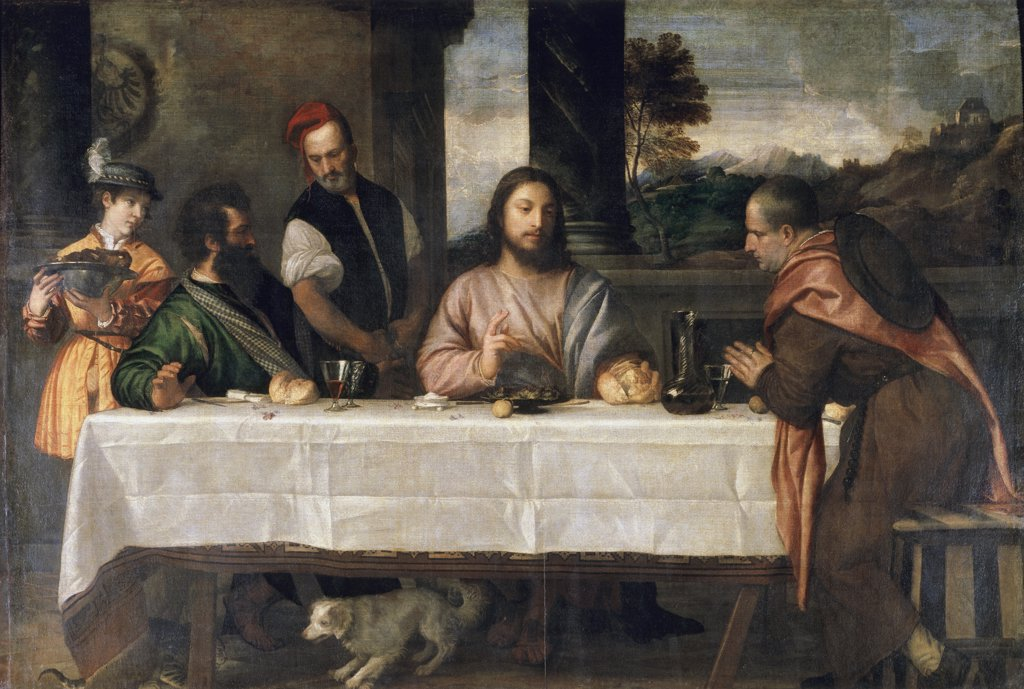 The Supper at Emmaus  C. 1535 Titian (1485-1576/Italian) Musee Du Louvre, Paris  : Stock Photo