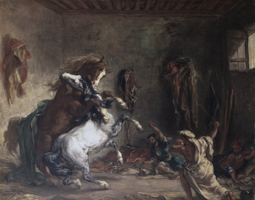 Stock Photo: 1158-2526 Arabian Horses Fighting In A Stable Chevaux Arabes Combattant Dans Un Stable 1860 Eugene Delacroix (1798-1863 French) Oil On Canvas Musee d'Orsay, Paris, France