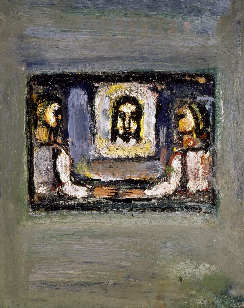 Scene of the Passion: Head of Christ Carried by Two People by Georges Rouault, (1871-1958), USA, Texas, Private Collection : Stock Photo
