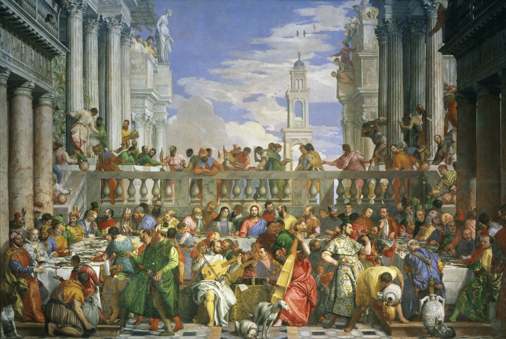 The Wedding at Cana  c. 1570  Veronese (Paolo Caliari) 1528-1588/Venetian  Musee du Louvre, Paris  : Stock Photo