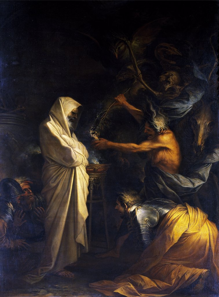 Ghost of Samuel Called Before Saul by the Witch of Endor by Salvator Rosa,  (1615-1673),  Paris,  Musee du Louvre : Stock Photo