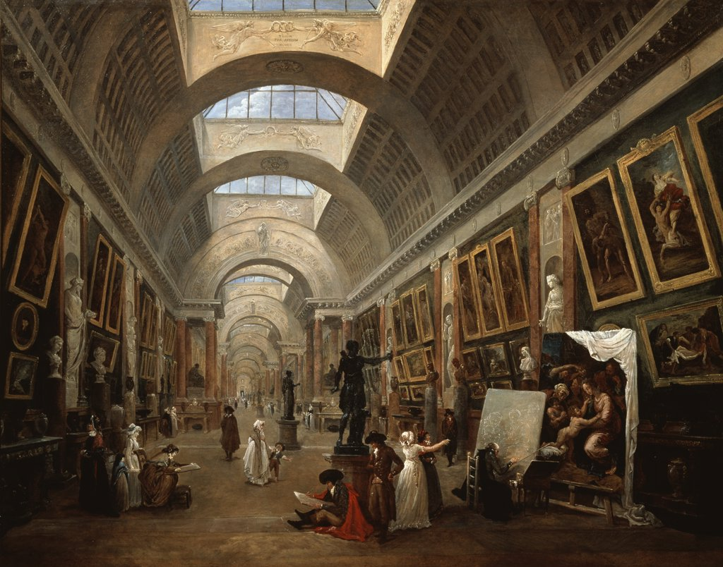 Project For The Disposition Of The Grand Gallery 1796 Hubert Robert (1733-1808 French) Oil On Canvas Musee du Louvre, Paris, France : Stock Photo