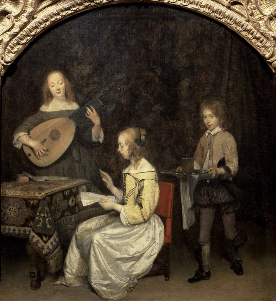 Stock Photo: 1158-2573 The Concert 17th Century Gerard ter Borch (1617-1681 Dutch) Oil On Canvas Musee du Louvre, Paris, France